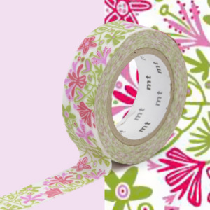 Bandă washi MT Masking Tape Beng and Lotta, roz - verde