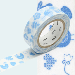 Bandă washi MT Masking Tape Bird Song, albastru - alb