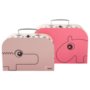 Set 2 valize mici Suitcase, roz