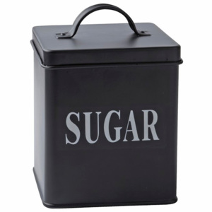 Recipient metalic KJ Collection Sugar, 1,5 l, negru