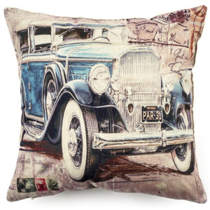 Față de pernă Retro Car blue, 45 x 45 cm