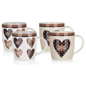 Set căni ceramice 4 buc. BANQUET CHOCO HEARTS 360 ml