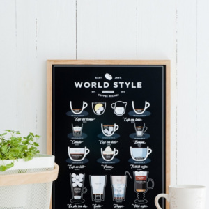 Poster Follygraph World Style Coffee Black, 21 x 30 cm