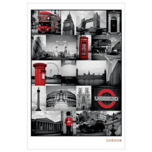 London - red collage Poster, (61 x 91,5 cm)