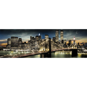 Manhattan - night and moon Poster, (158 x 53 cm)