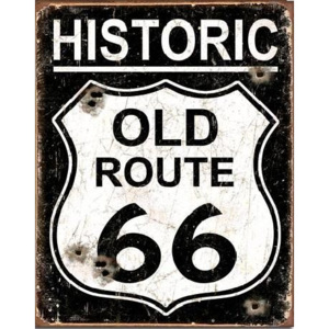 OLD ROUTE 66 - Weathered Placă metalică, (31,5 x 40 cm)