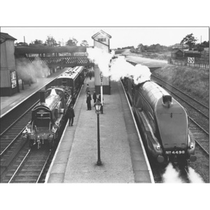 Steam train at Stevenage Station, 1938 Reproducere, (80 x 60 cm)