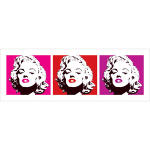 Marilyn Monroe - Red Triptych Reproducere, (33 x 95 cm)