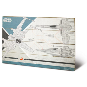Star Wars The Last Jedi - X-Wing Plans Pictură pe lemn, (40 x 59 cm)