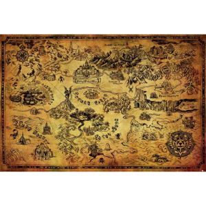 The Legend Of Zelda - Hyrule Map Poster, (91,5 x 61 cm)