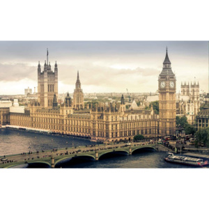 The View Of London Fototapet, (250 x 104 cm)