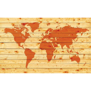 World Map Wood Planks Fototapet, (416 x 254 cm)