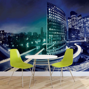 City Skyline Night Fototapet, (206 x 275 cm)
