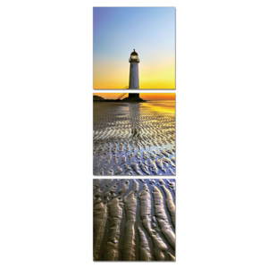 Lighthouse at sunset Tablou, (50 x 150 cm)