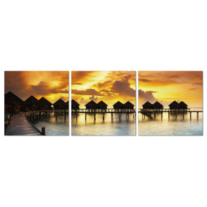 Silhouettes of cabins at sea Tablou, (150 x 50 cm)