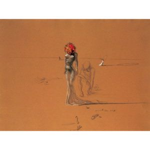 Female Figure with Head of Flowers, 1937 Reproducere, Salvador Dalí, (30 x 24 cm)