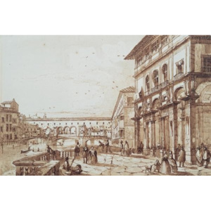 The River Arno with Ponte Vecchio From the Uffizi Terrace Reproducere, Burci E., (50 x 35 cm)