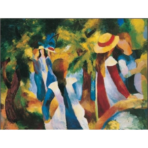 Girls Under the Trees Reproducere, Macke August, (80 x 60 cm)