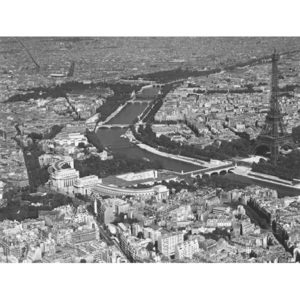 Paris - Aerial view of selected part, 1956 Reproducere, CHARLES ROTKIN, (80 x 60 cm)
