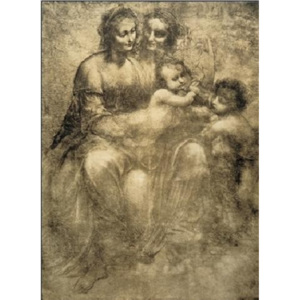 The Virgin and Child with St Anne and St John the Baptist - Burlington House Cartoon Reproducere, Leonardo Da Vinci, (35 x 50 cm)