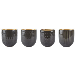 Set 4 căni, gresie ceramică, Villa Collection Tribe, 400 ml