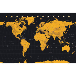 World Map - Gold World Map Poster, (91,5 x 61 cm)