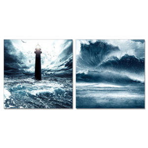 Lighthouse in storm Tablou, (120 x 60 cm)