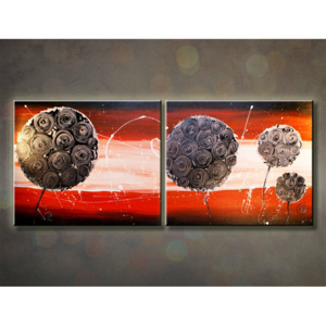 Tablou pictat manual ABSTRACT 2-piese 100X40cm (tablouri)