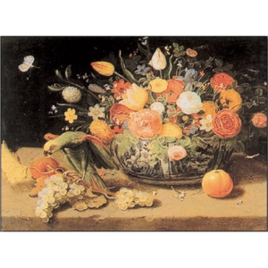 Still Life of Flowers and a Parrot Reproducere, V. Kessel, (100 x 70 cm)