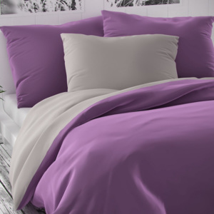 Lenjerie de pat din satin Luxury Collection, violet /gri deschis, 200 x 200 cm, 2 buc. 70 x 90 cm