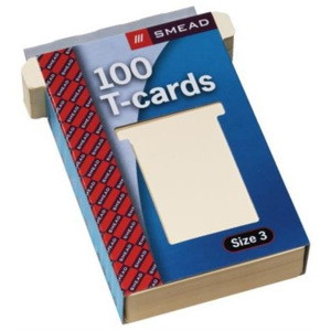JALEMA T-cards, din hartie, 100buc/set, format 2 - (85 x 48mm, top 60mm) - alb