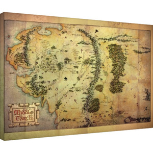 The Hobbit - Middle Earth Map Tablou Canvas, (80 x 60 cm)