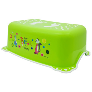 Taburet Inaltator Baie Copii MyKids Little Bear and Friend cu sistem antialunecare Verde