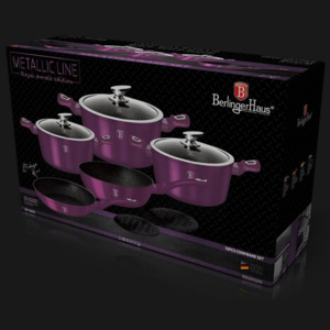 Set oale marmorate 10 piese Purple Royal Metalic Line Berlinger Haus BH 1661N