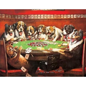DRUKEN DOGS PLAYING CARDS Placă metalică, (41 x 32 cm)
