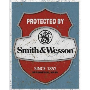 S&W - protected by Placă metalică, (32 x 41 cm)