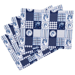 Suport farfurie Country patchwork, albastru, 33 x 45 cm, set 4 buc