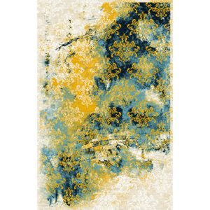Covor Coral 6 Yellow / Blue, Tesut mecanic
