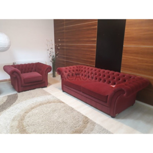 Set canapea extensibila LONDON CHESTERFIELD si fotoliu fix, 228x106x74 (L x l x H), rosu