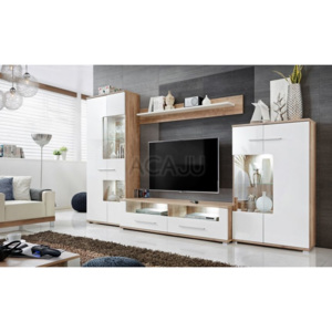 Set mobila living SAALA 3, 320x47x194 cm, FRONTURI MDF ULTRA-BRILLIANCE, ILUMINARE cu LED