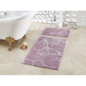 Set 2 covorase de baie, bumbac100%, Butterfly - Dark Lilac