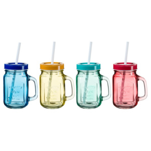 Set 4 căni colorate cu capac și pai SUMMER FUN II, 450 ml
