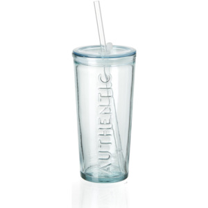Set pahare cu pai si capac Authentic, To Go, 530 ml, 6 piese