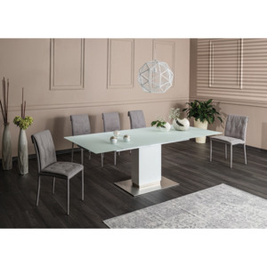 Set masa din sticla si MDF Horizon White + 6 scaune tapitate Nido Grey