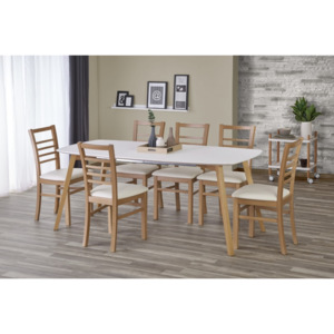 Set masa din MDF si lemn Kajetan + 6 scaune Adrian Honey Oak / White