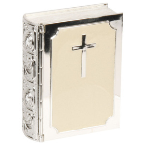 Juliana silverplated & Cream Epoxi Trinket Box - Biblia