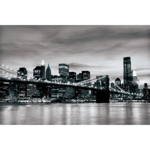 Fototapet: Brooklyn Bridge (alb-negru) - 184x254 cm