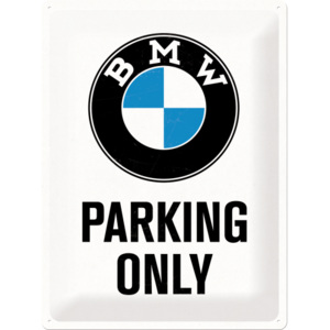 Placă metalică: BMW Parking Only (alb) - 40x30 cm