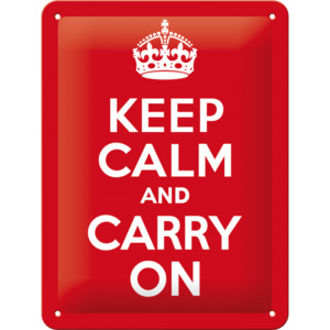 Placă metalică: Keep Calm and Carry On - 20x15 cm