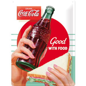 Placă metalică - Coca-Cola (Good with Food)